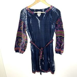 IVY JANE Embroidered Tie Dye Peasant Sleeve Dress